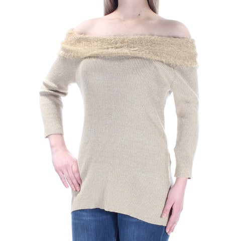 NY COLLECTION Womens Gold Eyelash Material Long Sleeve Off Shoulder Party Top Size: M