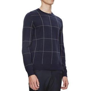 Theory Damons CR Castellos Windowpane Crewneck Sweater Eclipse Multi Medium M