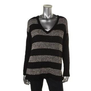 Kensie Womens Striped Dolman Sleeves Pullover Sweater