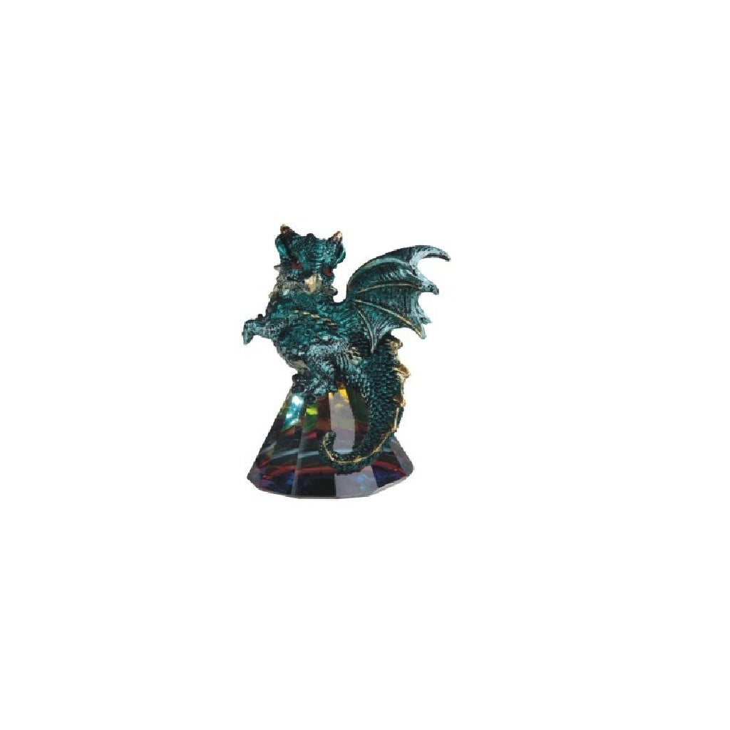 Q Max 3 5 H Green Dragon Standing On Pyramid Glass Statue Fantasy Decoration Figurine On Sale Overstock 32409414