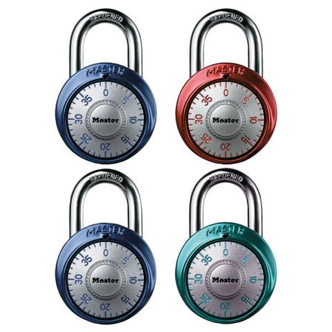 Master Lock 1561DAST Combination Padlocks, 4 Asst Color