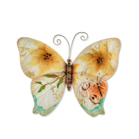 Handmade Wall Butterfly with Small Sunflowers and Pearls (Philippines)
