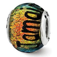 Sterling Silver Reflections Jamaica Orange Dichroic Glass Bead (4mm Diameter Hole)