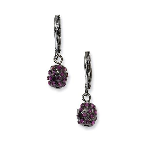 Black IP Red Crystal Bead Linear Drop Earrings