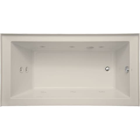"Mirabelle MIRSKW6032R Sitka 60"" X 32"" Acrylic Whirlpool Bathtub for Three Wall Alcove Installations with Left Pump and Right"