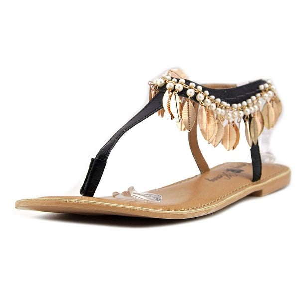 Penny Loves Kenny Saffron Women Open Toe Leather Black Thong Sandal