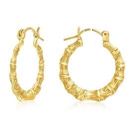 Mcs Jewelry Inc 14 KARAT YELLOW GOLD BAMBOO STYLE HOOP EARRINGS (DIAMETER 21MM)