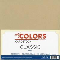 "My Colors Classic Cardstock Bundle 12""X12"" 18/Pkg-Kraft"