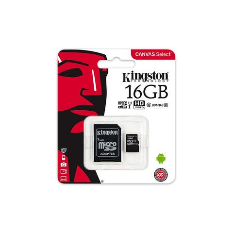 Kingston Canvas Select 16GB microSDHC Class 10 Memory Card with Adapter - black - 16 GB