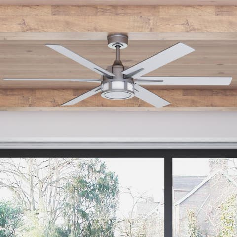 """56"""" Honeywell Kaliza Indoor Modern Ceiling Fan with Remote, Pewter"""