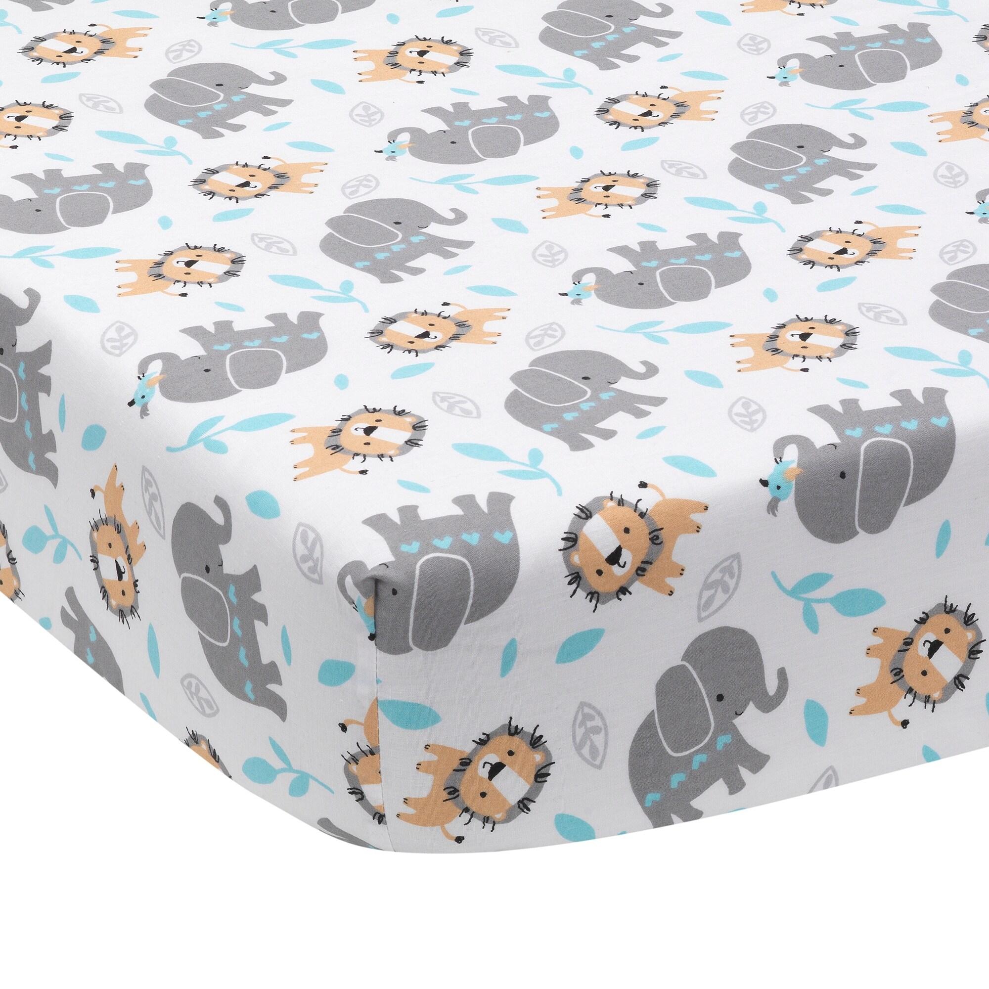White Pink Bedtime Originals Eloise 3-Piece Crib Bedding Set Gray Animals