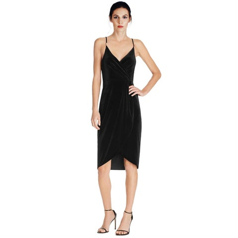 Aqua Velvet Faux Wrap Sleeveless Cocktail Dress Black