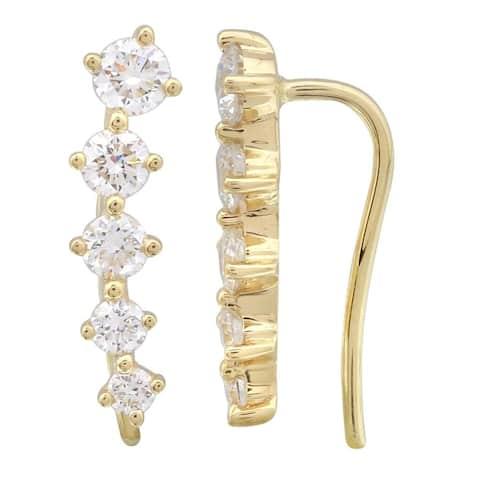 14k Yellow Gold Lab Grown Diamond Climber Crawler Earrings (1/2 carat)