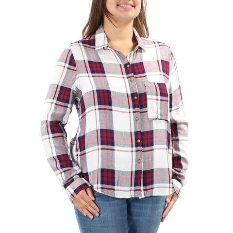 POLLY & ESTHER Womens Maroon Plaid Long Sleeve Collared Button Up Top Size: XL