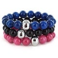 Dyed Jade and Stainless Steel Bracelet 3 Piece Set - Thumbnail 7