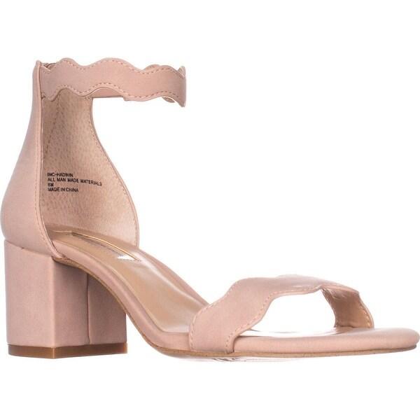 I35 Hadwin Scallop Block-Heel Sandals, Pink Bloom