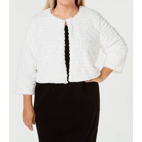Calvin Klein Womens Jacket White Size 1X Plus Faux-Fur Shrug Textured