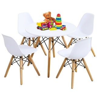 Gymax 5 Piece Kids Table Set Round Table w/ 4 Armless Chairs White