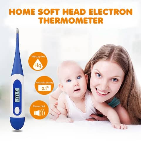 Baby Electronic Thermometer LED Digital Soft Head Thermometer Waterproof High Accuracy for Children Adult
