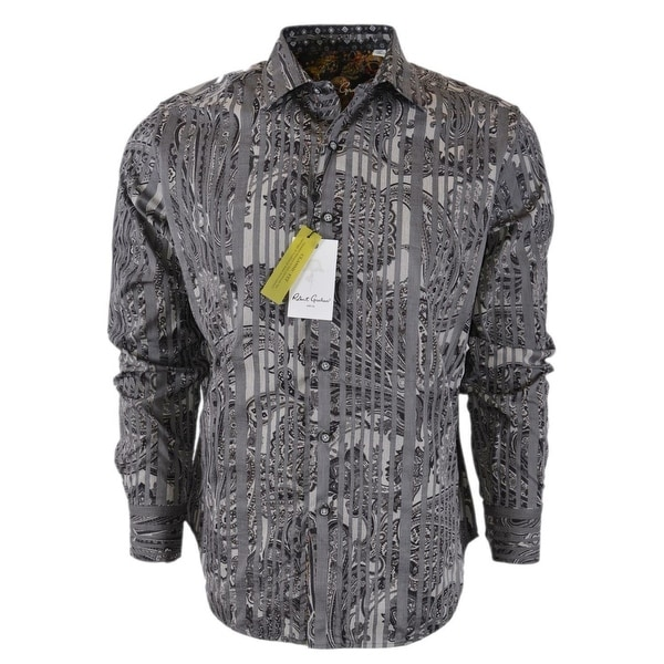 Robert Graham KLEAVER Grey Paisley Skull Print Classic Fit Sports Shirt