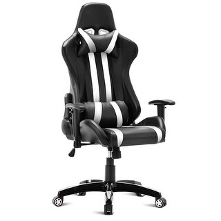 Costway Executive Racing Style High Back Reclining Chair Gaming Chair Office Computer - White
