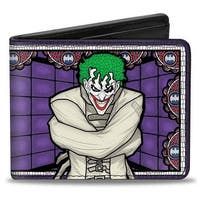 Joker Stained Glass Straitjacket Pose Bat Logo Purples Red Blue White Bi Bi-Fold Wallet - One Size Fits most