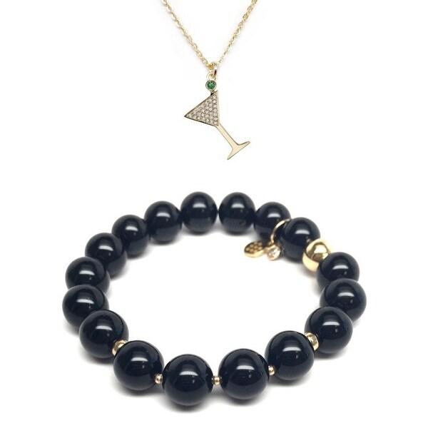 Black Onyx Bracelet & CZ Martini Glass Gold Charm Necklace Set