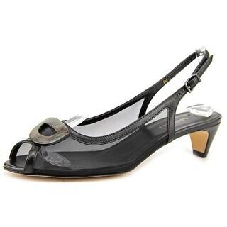 Vaneli Bowl N/S Open-Toe Leather Slingback Sandal