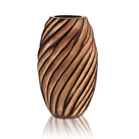 Timeless Artistry Handcarved Spiral Light Brown Mango Tree Wood Flower Vase (Thailand)
