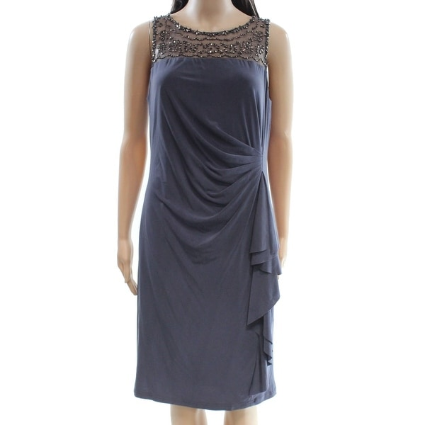 a4a43473 Shop Jessica Howard NEW Blue Womens Size 12 Beaded Ruched Sheath Dress - Free  Shipping On Orders Over $45 - Overstock - 18913650