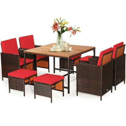 9PCS Patio Rattan Dining Cushioned Chairs Set