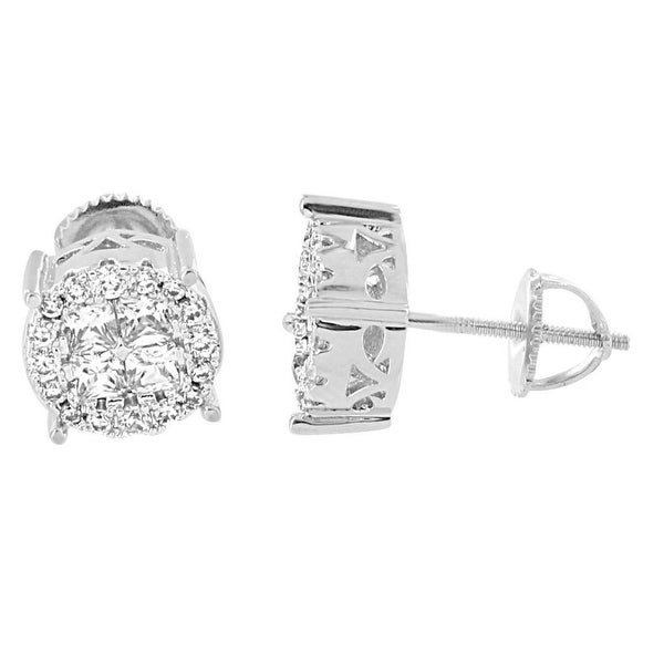 Cluster Solitaire Earrings Screw Back Studs Lab Diamonds Silver One Classy