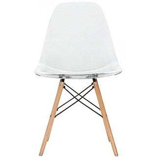 2xhome Clear - Eames Style Molded Bedroom & Dining Room Side Ray Chair with Natural Wood Eiffel Legs Base