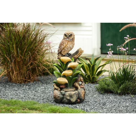 Resin Owl and Tree Outdoor Fountain