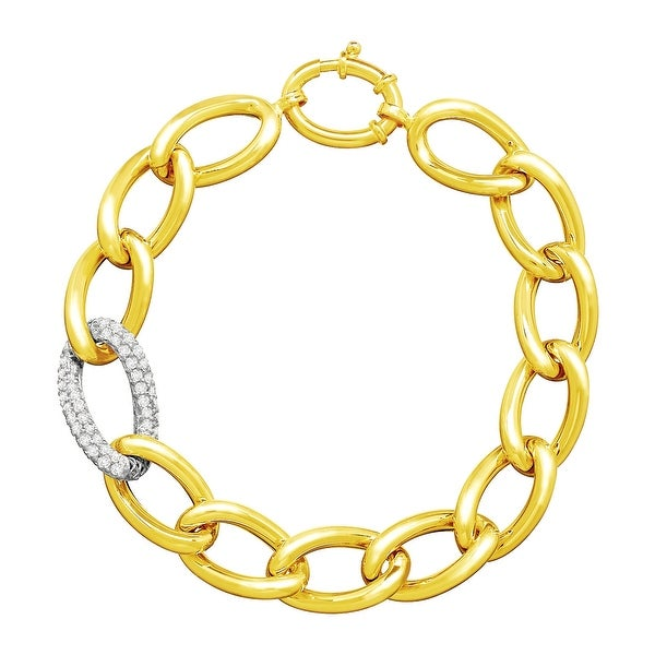 Link Bracelet with Preciosa Cubic Zirconia in 14K Two-Tone Gold - White