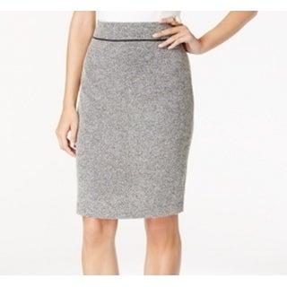Kasper NEW Heather Cream Black Womens Size 8 Flat-Front Pencil Skirt