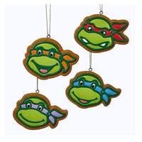 "Club Pack of 12 Teenage Mutant Ninja Turtles Gingerbread Ornaments 3"" - green"