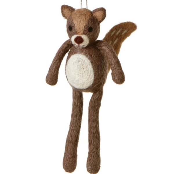 """6.75"""" Country Cabin Fuzzy Wildlife Friends Brown Squirrel with Dangling Legs Christmas Ornament"""