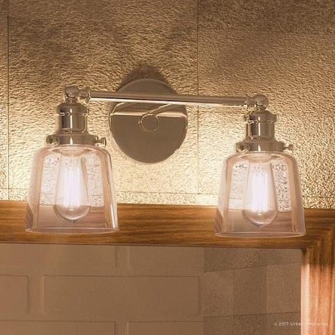 "Luxury Industrial Chic Bathroom Vanity Light, 9""H x 15""W, with Modern Style, Nostalgic Design, Polished Nickel Finish"