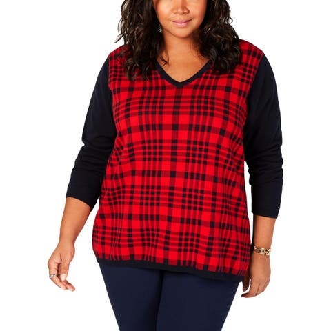 Tommy Hilfiger Womens Plus Classic Plaid Pullover Sweater Cotton Knit