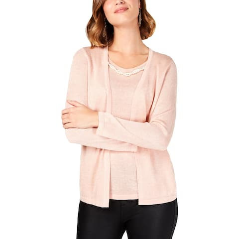 NY Collection Womens Petites Cardigan Sweater Metallic Embellished