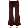 Plus Size Women's Olive Palazzo Pants Lose Fit Wide Leg Folding Waist Sexy Comfy - Thumbnail 1