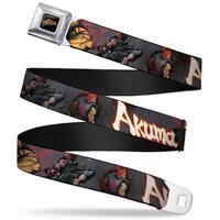 Street Fighter Logo Full Color Black Akuma Action Pose Webbing Seatbelt Seatbelt Belt