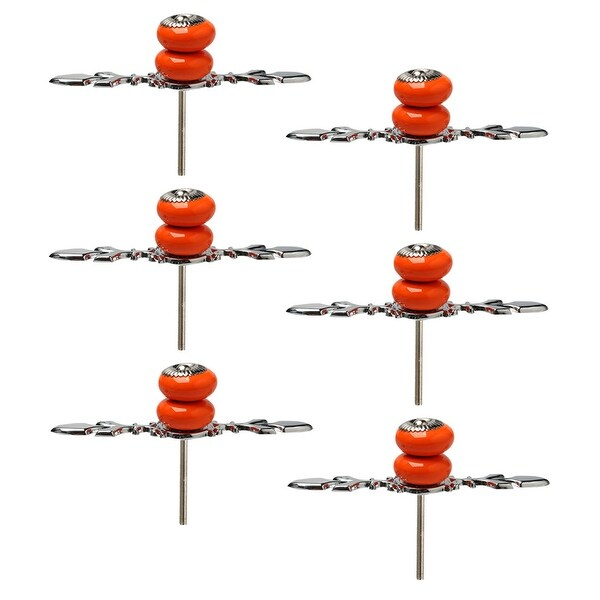 Ceramic Knobs Pull Handle Wardrobe Drawer Cupboard Cabinet Accessory 6pcs Orange