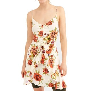 Link to Free People Women's Sheath Dress Ivory Large L V-Neck Floral Shirred Similar Items in Dresses