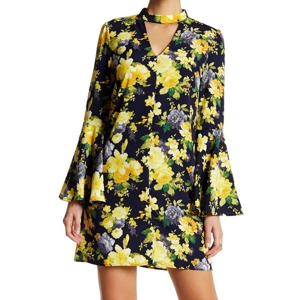 226d419d3a7ed1 Shop Soprano NEW Blue Yellow Size Medium M Junior Floral-Print Sheath Dress  - Free Shipping On Orders Over  45 - Overstock.com - 18769006