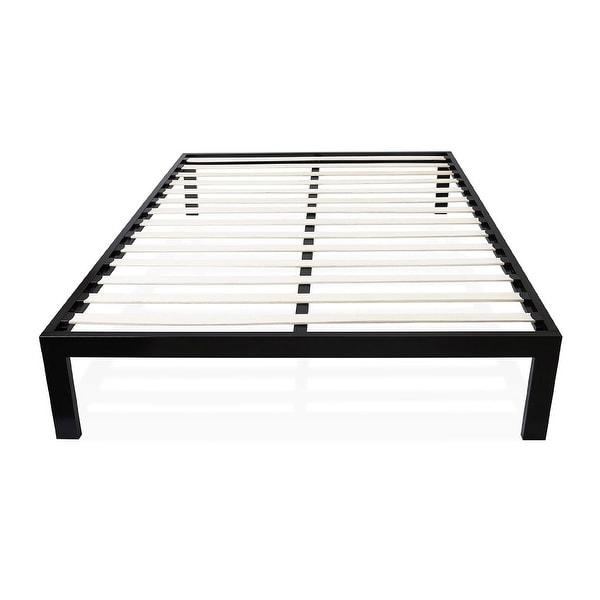 Twin size Modern Black Metal Platform Bed Frame with Wood Slats