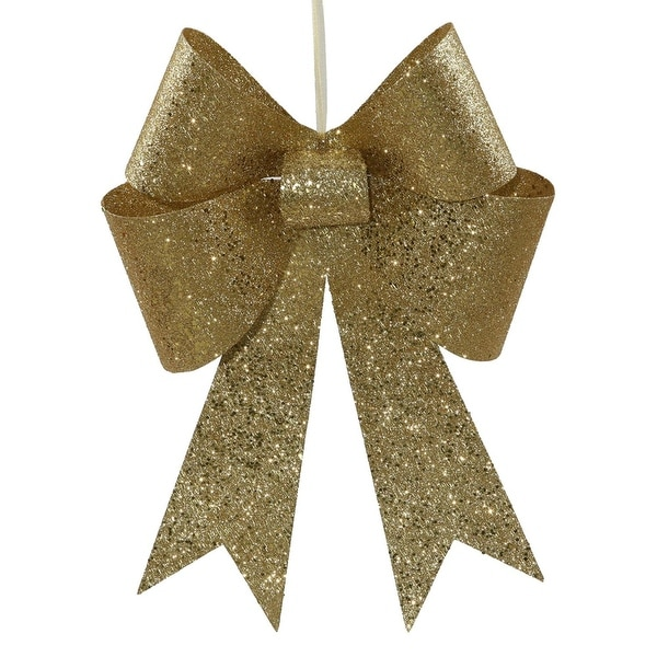 "18"" Gold Sequin and Glitter Bow Christmas Ornament"