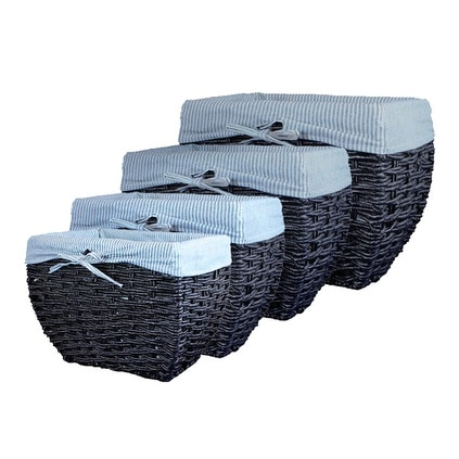 Lukasian House Black Maize Baskets with Striped Liner Set of 4