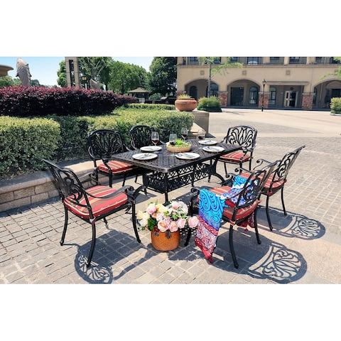 Moda Outdoor 7-Piece All-Weather Alum Casting Garden Dining Set